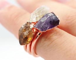 3 Raw Beautiful  terminated Gemstone Copper Ring BR 175