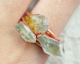 3 Raw Beautiful  terminated Citrine  and CrystalsCopper Ring BR 163