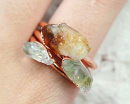 3 Raw Beautiful  terminated Citrine  and Crystals Copper Ring BR 164