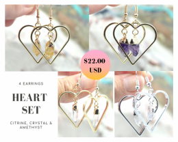 Four Lovers beautiful gemstone Heart shape earrings Set BR168