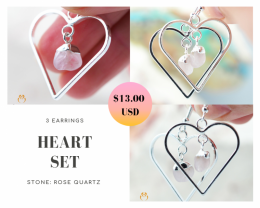 Three Tumbled beautiful Rose Quartz gemstone Heart shape earrings Set BR174