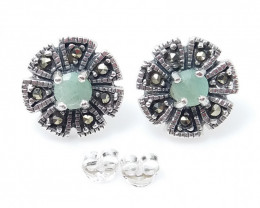 EMERALD NATURAL STONE WITH 925 SILVER EARRING N#3