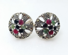 RUBY EMERALD SAPPHIRE MIXED 925 SILVER EARRING N#11