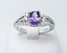 AMETHYST NATURAL STONE WITH 925 SILVER RING N#12