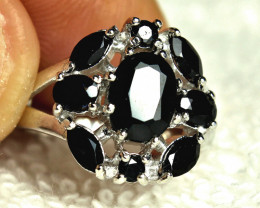 22.99 Tcw. Black Sapphire, Sterling with Gold Plate - Sz.5