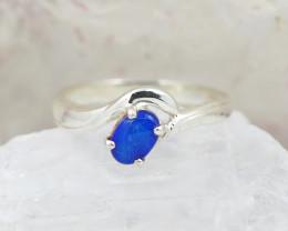 Australian Opal doublet blue fire Silver Ring  OPJ 2241