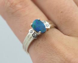 Australian gree doublet Opal Silver Ring  OPJ 2243