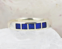 Australian Opal inlay  Silver Ring  OPJ 2245