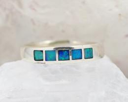 Australian inlay Opal Silver Ring  size 7-8  OPJ 2250