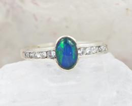 Australian Triplet Opal Silver Ring size 7   OPJ 2252