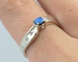 Australian cz n doublet  Opal Silver Ring  OPJ 2259
