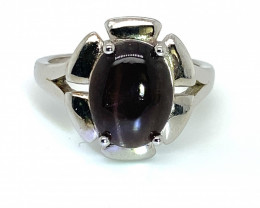Cats Eye Scapolite 2.87ct Rhodium Finish Solid 925 Sterling Silver Ring