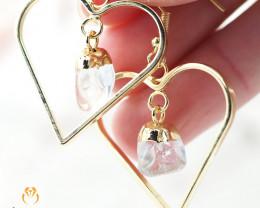 Tumbled beautiful Crystal gemstone Heart shape earrings BR 179