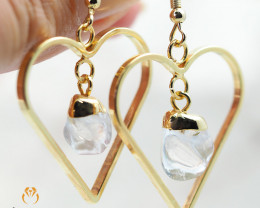 Tumbled beautiful Crystal gemstone Heart shape earrings BR 180