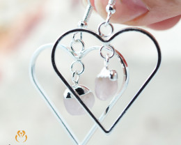 Tumbled beautiful Rose Quartz gemstone Heart shape earrings BR 184