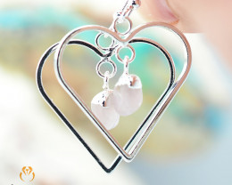 Tumbled beautiful Rose Quartz gemstone Heart shape earrings BR 185