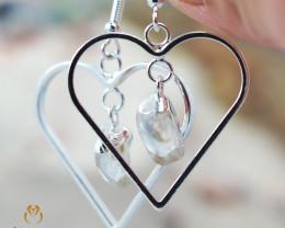 Tumbled beautiful Crystal gemstone Heart shape earrings BR 189