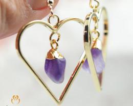 Tumbled beautiful Amethyst gemstone Heart shape earrings BR 192