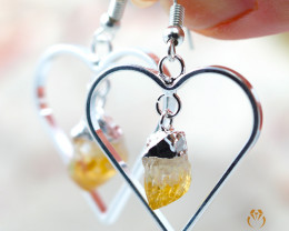 Terminated Point beautiful Citrine gemstone Heart shape earrings BR 198