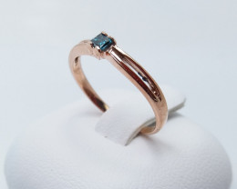 ROSE GOLD RING WITH TOP CLASS BLUE DIAMAND STONE E#15