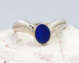 Australian Blue Fire Opal Doublet Silver Ring  OPJ 2261
