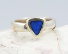 Australian Inlay Opal Silver Ring Size 5.5   OPJ 2262