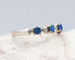 Australian Opal doublet clusterSilver Ring  OPJ 22464