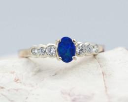 Australian Opal doublet  Silver Ring n cz OPJ 2265