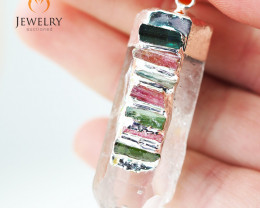 Terminated Point Crystal 7 Chakra Pendant BR 214