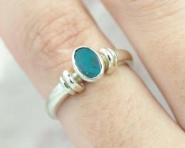 Australian Opal doublet Silver Ring size 6    OPJ 2267