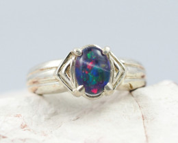 Australian Opal triplet Silver Ring  OPJ 2268