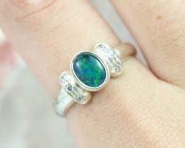 Australian Opal triplet Silver Ring  OPJ 2269