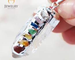 Terminated Point Crystal 7 Chakra Pendant BR 215