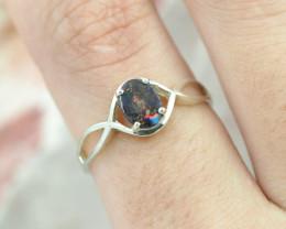 Australian  Red Fire Boulder Opal Silver Ring  OPJ 2270