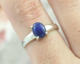 Australian  black Opal Silver Ring  OPJ 2271
