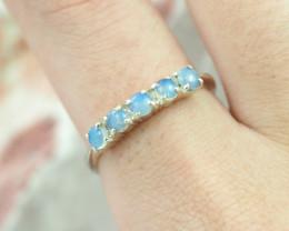 Australian  Cute cluster solid Opal Silver Ring  size 7.5  OPJ 2275
