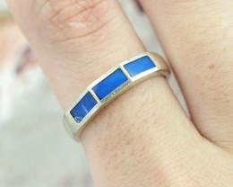 Australian  inlay Opal Silver Ring  size 7 OPJ 2277