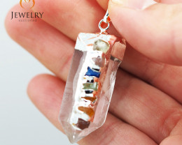 Terminated Point Crystal 7 Chakra Pendant BR 217