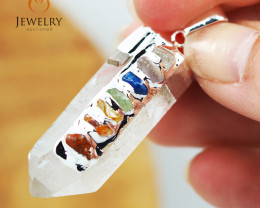 Terminated Point Crystal 7 Chakra Pendant BR 218