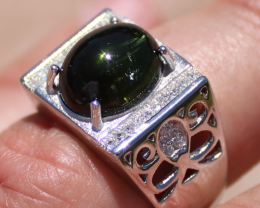 Green Tourmaline 4.78ct White Gold Finish Solid 925 Sterling Silver Men and