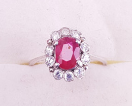 Natural Ruby & Small Zircons Ring.