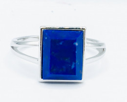 17.17 Crt Natural Lapis Lazuli 925 Siver Rhodium Plated Ring