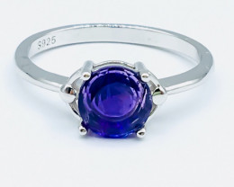 10.94 Crt Natural Amethyst 925 Siver Rhodium Plated Ring