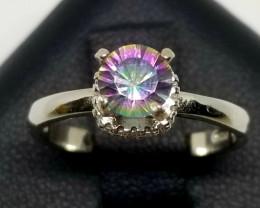 Rainbow Mystic Quartz & Cubic Zirconia Silver Stunnig Ring