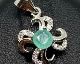 Grandidierite Natural & Cubic Zirconia Silver Perfect Pendant