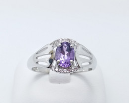 AMETHYST NATURAL STONE WITH SILVER RING 925 SILVER RING A#3