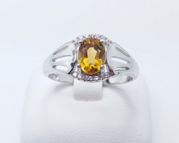 CITRIN NATURAL STONE WITH  925 SILVER RING A#5