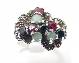 RUBY EMERALD SAPPHIRE MIXED 925 SILVER RING O#8