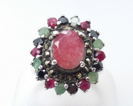 RUBY EMERALD SAPPHIRE MIXED 925 SILVER RING O#10