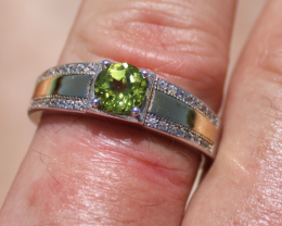Peridot 1.05ct Rhodium Finish Solid 925 Sterling Silver Ring,Natural,Round